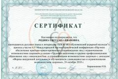 Сертификат Родина С.И.