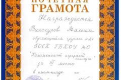 Почётная грамота Винокуров