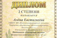 Евстигнеева Алена 2 место