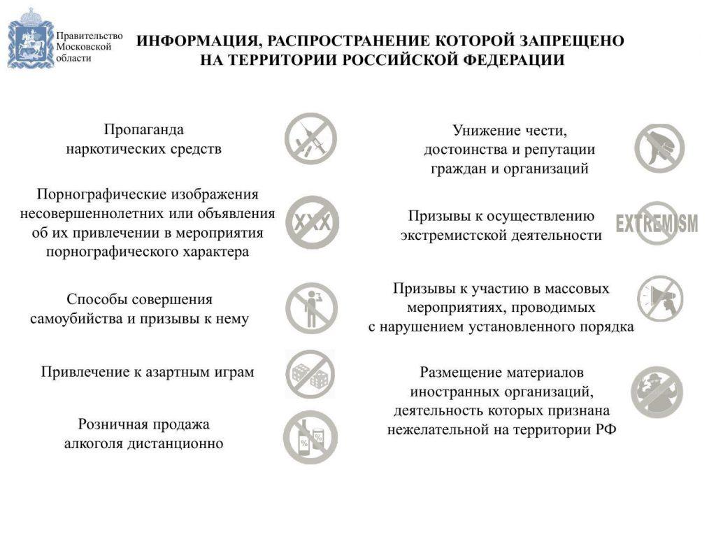 Информация, распространение которой запрещено на территории Российской Федерации